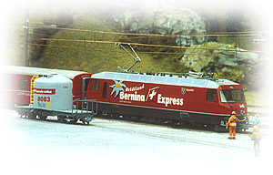 Güterzug mit Bernina-Express-Lok